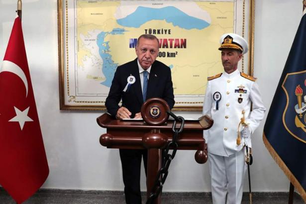 Erdoğan photographed in front of 'Blue Homeland' map